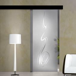 Black Sliding Glass Door  Kit/ L=195 cm/ 120 kg Capacity