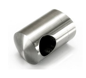Curved Back Crossbar Holder for  Ø14 mm pipe/ Ø42,4mm/  AISI 304/SATIN