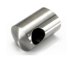 Flat Back Crossbar Holder for Ø16 mm pipe/Ø 42,4 mm/End Hole/ Left/Right / SATIN