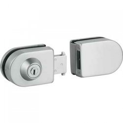 Overlay Glass Sliding Door Lock with Cylinder and Strike Patch / Polish, Satin