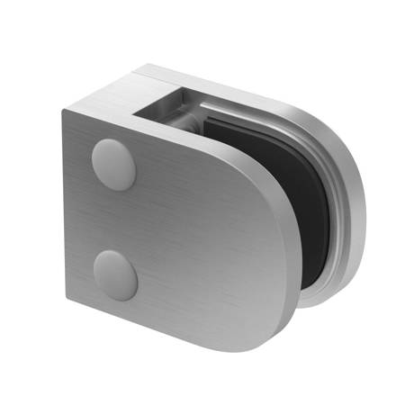 50x40 Balustrade Flat Back Clamp with Safety Pin  6-10,76 mm glass / Satin