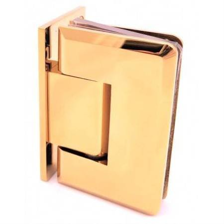 90 degree Brass Polish  Glass Shower Hinge with hidden screws/ Brass Polish