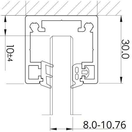 Fixed Glass Panel  30x32 Profile HT-030M for Top Mounting