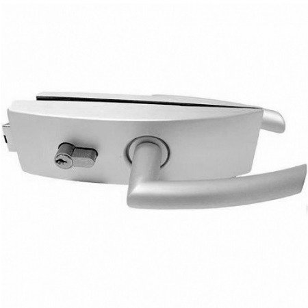 Glass Door Lock with Handle and Cylinder / Al anodized