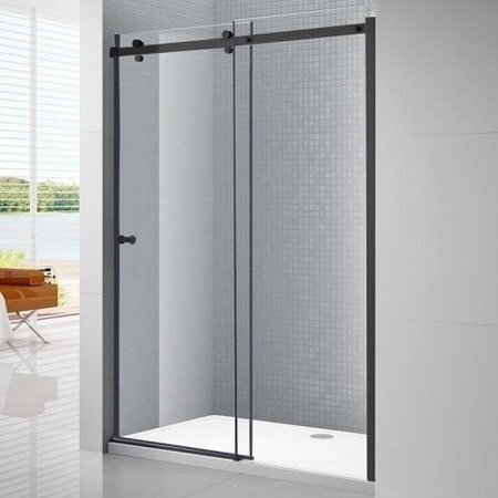 Glass Shower Black Sliding Door System for loft